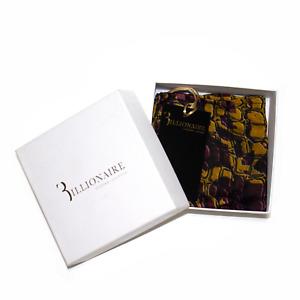 Men's Billionaire 100% Silk NIB Red Gold Crocodile Print Pocket Square MSRP $145