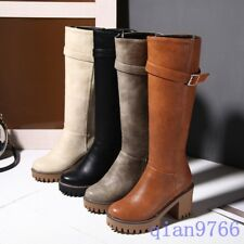 Womens Knee High Boots Zip Buckle Block High Heel Fashion Riding Boots Shoes