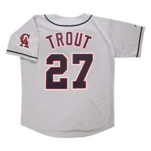 Mike Trout California Angels Grey Road Men's Throwback Jersey w/ Team Patch