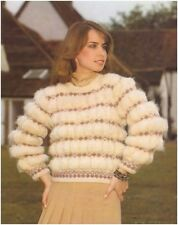 Ladies' mohair fair-isle ruched effect sweater vintage knitting pattern
