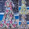 Women Muslim Kaftan Morocco Long Sleeve Floral Print Swing Long Maxi Shirt Dress