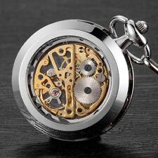 Skeleton Men's Steampunk Hand Wind Up Mechanical Vintage Pocket Watch + Chain