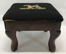 Vintage Wire Hair Fox Terrier Dog Needlepoint Footstool