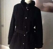 986d2144bb00 ANDREW MARC WOMENS BLACK JACKET,COAT WITH FAUX FUR COLLAR SIZE- M