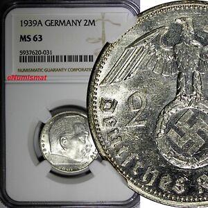 GERMANY-Third Reich Silver 1939 A 2 Reichs Mark NGC MS63 Hindenburg KM# 93 (031)