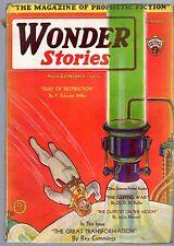 GLOSSY UNREAD GERNSBACK Sci-Fi Pulp! Feb 1931 'WONDER STORIES' 25c 30c in Canada