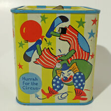 COOL VINTAGE TIN LITHOGRAPHED JACK / CLOWN IN THE BOX CHAD VALLEY ENGLAND 1950's