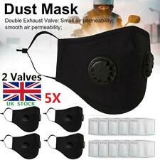 5PCS Reusable Mask With 2 Breathing Valves Face Mask +Activated Carbon Filters