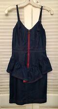 $278 Betsey Johnson Stretch Denim Peplum Dress SZ 2 Rockabilly Pristine