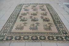 Oversize Oushak Rug 7'4 x 10'2 ft Vintage Anatolian Great Design Low Pile Rug