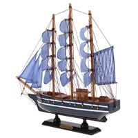 WOOD SAILBOAT Sailing Boat Nautical Decor Ship Model Marine Beach Home #1