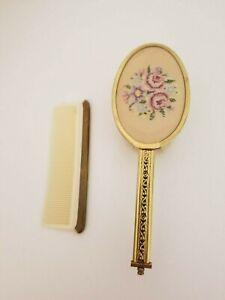 Vintage Woman's Hair Brush and Comb Set Plastic Head Art Deco Metal Handle