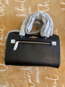NWT COACH Rowan Satchel Crossbody Shoulder Bag Classic Zip Black Gold F79946