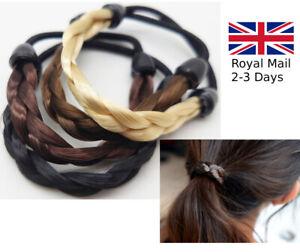 Ladies Girls Braided Synthetic Hair Stretchy Elastic Headband Hairband Ponytail