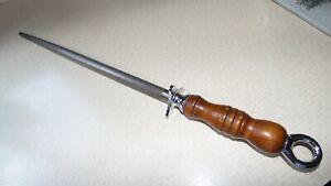 """Russell  knife  sharpener   20 1/2""""  long   nice   wood handle   vintage"""
