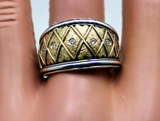 KONSTANTINO STERLING 18K DIAMOND WIDE BAND RING