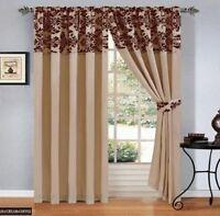 "Damask Flock Pair Of Pencil Pleat Window Curtains 66""x72""  90""x90"" Beige Brown"