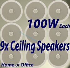 "9x CEILING IN WALL SPEAKERS 6.5"" 100W HIFI Surround Sound Home Office 952.534"