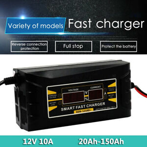 Car Battery Charger 12V 10A Smart Power Fast Charging Reverse Connect Protection