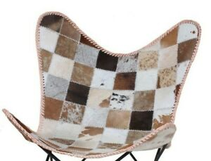 Kristina Butterfly Chair Iron Stand and Cow HairOn Leather Indoor Outdoor Chair