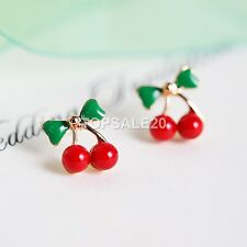 Women Red Cherry Ear Studs Green Bowknot Earrings