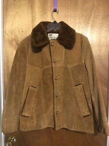 VTG Lakeland Mens Sherpa Rancher Marlboro Leather Suede Jacket 42