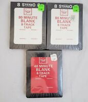 3 sealed NOS Blank Recording 8 Track Tapes Cartridge Lot New 3 8-tracks tape
