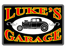 Personalized CAR Garage Sign Printed w YOUR NAME Aluminum Bright Color Black 392