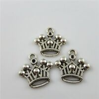 80pcs Mini Crown Look Alloy Antique Silver Charms Pendants Jewelry Making 34415