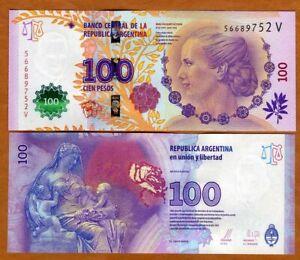 Argentina, 100 Pesos, ND (2015), P-358b V-Suffix, UNC > Commemorative, Evita