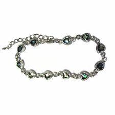 "Abalone Shell Mini Heart Charm Bracelet Silver Plated 7"" - 9"" Love"