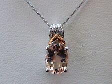 """NEW 1.2ct Morganite & Diamond Slider Pendant Necklace 10K White & Rose Gold 18"""""""