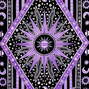 Twin Purple Burning Sun Tapestry Celestial Psychedelic Beach Coverlet Curtain