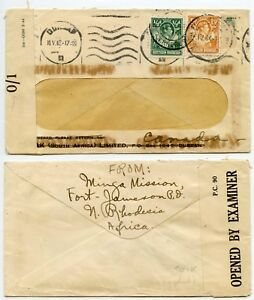 NORTHERN RHODESIA Fort Jameson  CANADA RE USE WINDOW ENV 1943 + 1944 CENSORED 01
