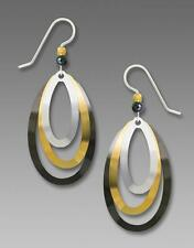 Adajio Earrings 3-Part Stacked Gold Silver Hematite Metal Ovals Handmade in USA