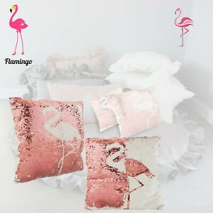 Licensed Sequin Cushions-Flamingo Polyester Filled Pillow Kids Xmas Gift, 2 Pack