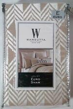 WAMSUTTA Joilet European SHAM Taupe White Velvet Textured Print