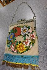 ANTIQUE LARGE ORNATE FLORAL FLOWERS BEADED PURSE COLORFUL EVENING BAG WHITING