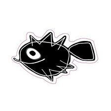 Autocollant poisson fish sticker adhesif logo 5 8 cm blanc