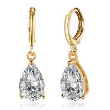 White Gold Earrings Female Water Drop Crystal Blue Stone Zircon Clip On Earrings