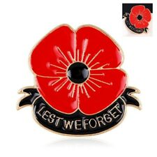 Red Poppy Flower Lapel Pin Enamel Badge Lest We Forget 3d Brooch Military Army