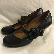 Women's Sofft Black Leather Mary Jane Pumps Heels Flower Detail 10M
