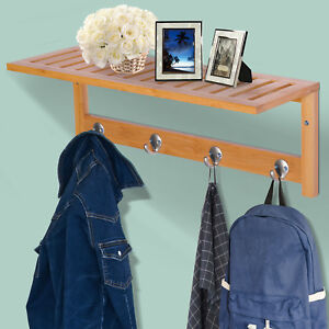 Mounted Bamboo Shelf Clothes Rack Hanging Coat Hooks Hallway Wall Kitchen
