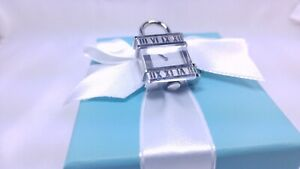 Tiffany Co Atlas  Watch Padlock Charm Pendant Necklace Stainless Steel Swiss