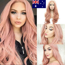 Synthetic Lace Front Wig Long Wavy Heat Safe Fiber Half Hand Tied Wig AU