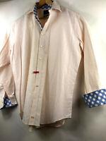 Thomas Dean Mens Check Flip Cuff Button Front Shirt Long Sleeve Mens Size XL