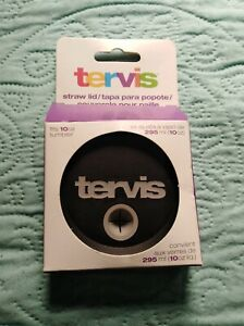 Tervis 10 Ounce (Oz) Straw Lid for 10 Oz Wavy Tumbler - Black - NEW