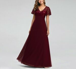 Mother Of The Bride Dresses Burgundy A-line Short Sleeve Chiffon Lace Embroidery