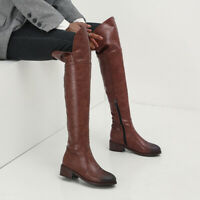 Women Chunky Heel Over The Knee Stretch Zip Biker Riding Boots Large Size 34-48
