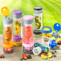 NEW INTERFUSE SPORT FRUIT INFUSION JUICE INFUSER WATER BOTTLE BPA FREE 7 COLOURS